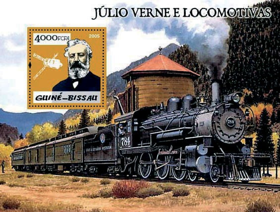 Steam trains & Jules Verne S/s 4000 - Issue of Guinée-Bissau postage stamps