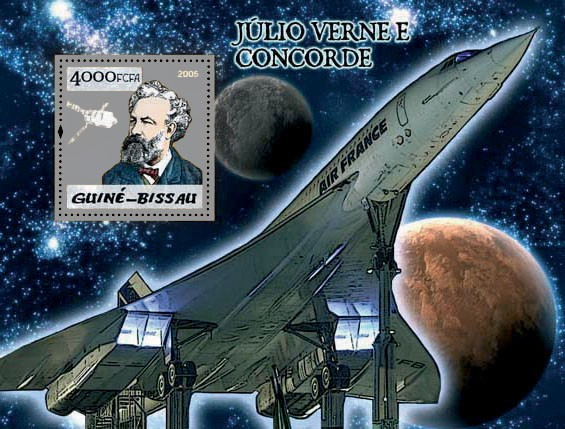 Concorde & Jules Verne S/s 4000 - Issue of Guinée-Bissau postage stamps