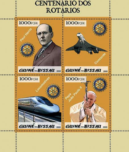 Rotary (incl. Concorde, train, Pope) 4v x 1000 - Issue of Guinée-Bissau postage stamps