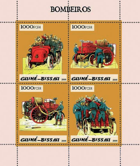 Fire Engines (Pompiers) 4v x 1000 - Issue of Guinée-Bissau postage stamps