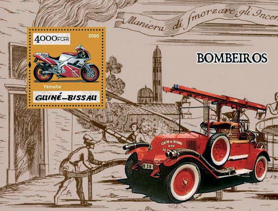 Fire Engines (Pompiers) S/s 4000 - Issue of Guinée-Bissau postage stamps
