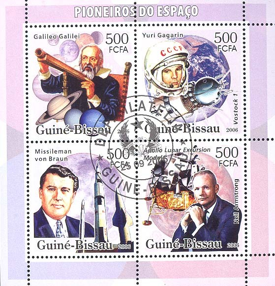 Space Pioneers (Galileo, Gagarin, Braun, Armstrong, shuttles, Apollo Lunar Excursion Module) 4v x 500 (CTO) - Issue of Guinée-Bissau postage stamps