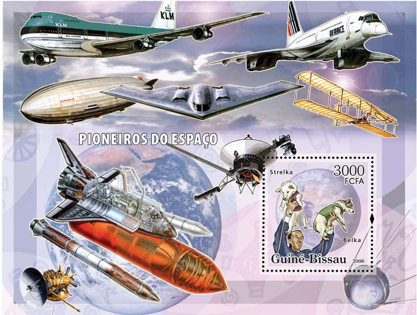 Space Pioneers (dogs in space, shuttles, airplanes) S/s 3000 - Issue of Guinée-Bissau postage stamps