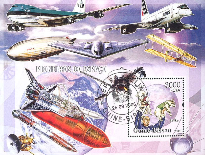 Space Pioneers (dogs in space, shuttles, airplanes) S/s 3000 (CTO) - Issue of Guinée-Bissau postage stamps