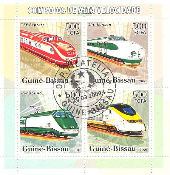 High Speed Trains  4v x 500 (CTO) - Issue of Guinée-Bissau postage stamps