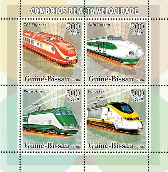 High Speed Trains 4v x 500 - Issue of Guinée-Bissau postage stamps