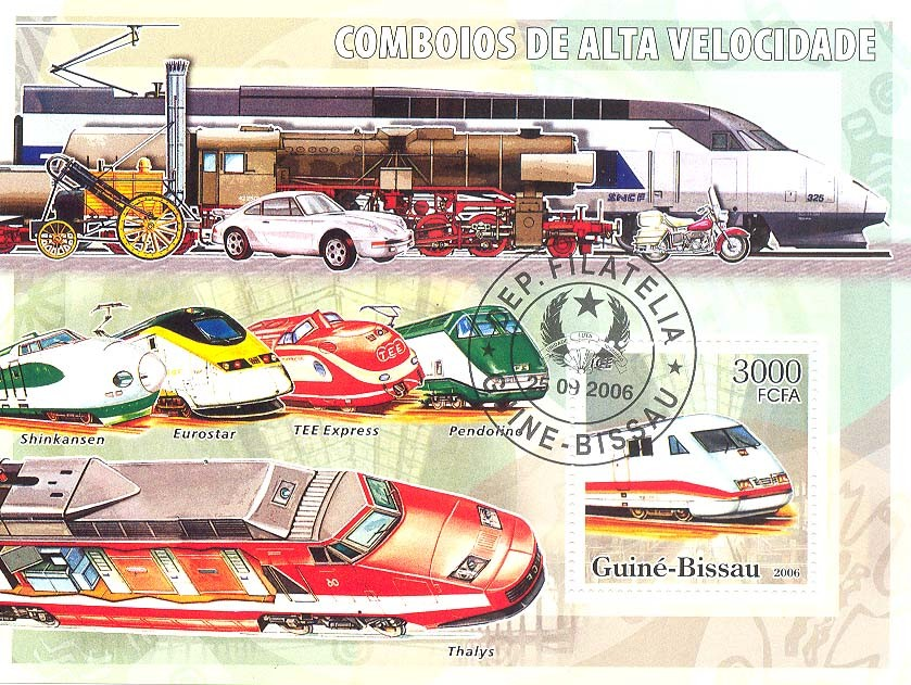 High Speed Trains S/s 3000 (CTO) - Issue of Guinée-Bissau postage stamps