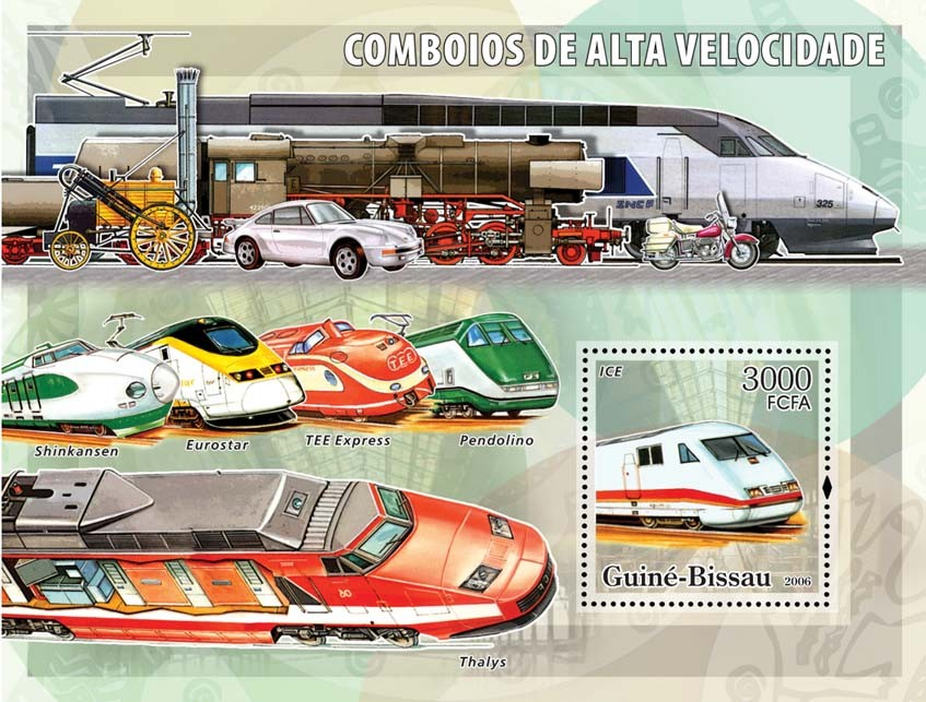 High Speed Trains S/s 3000 - Issue of Guinée-Bissau postage stamps