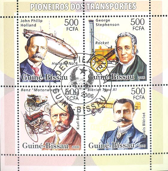 Transport Pioneers (Holand, Stephenson, Benz, Bleriot) 4v x 500 (CTO) - Issue of Guinée-Bissau postage stamps
