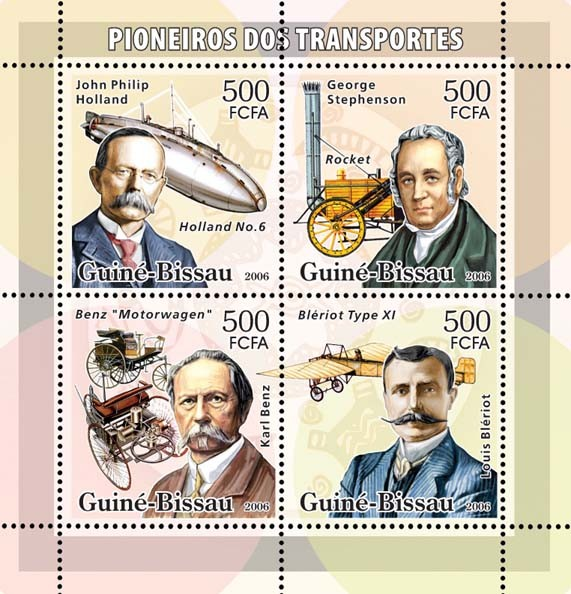 Transport Pioneers (Holand, Stephenson, Benz, Bleriot) 4v x 500 - Issue of Guinée-Bissau postage stamps