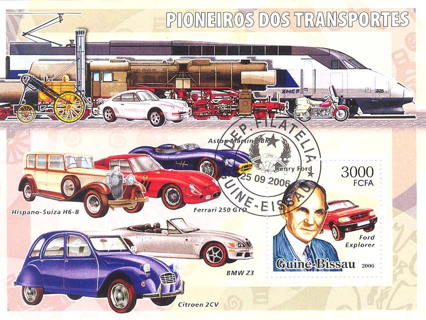 Transport Pioneers (Henry Ford) S/s 3000 (CTO) - Issue of Guinée-Bissau postage stamps