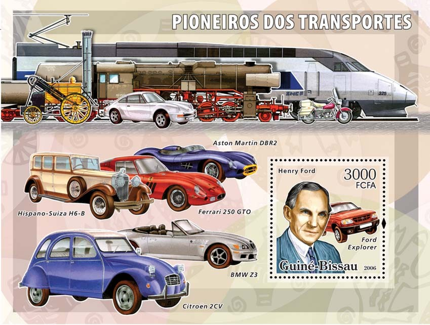 Transport Pioneers (Henry Ford) S/s 3000 - Issue of Guinée-Bissau postage stamps