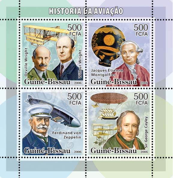 History of Aviation (Wrights, Montgolfier, Zeppelin, Cayley) 4v x 500 - Issue of Guinée-Bissau postage stamps