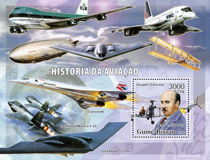 History of Aviation (Sikorsky, various airplanes) S/s 3000 - Issue of Guinée-Bissau postage stamps