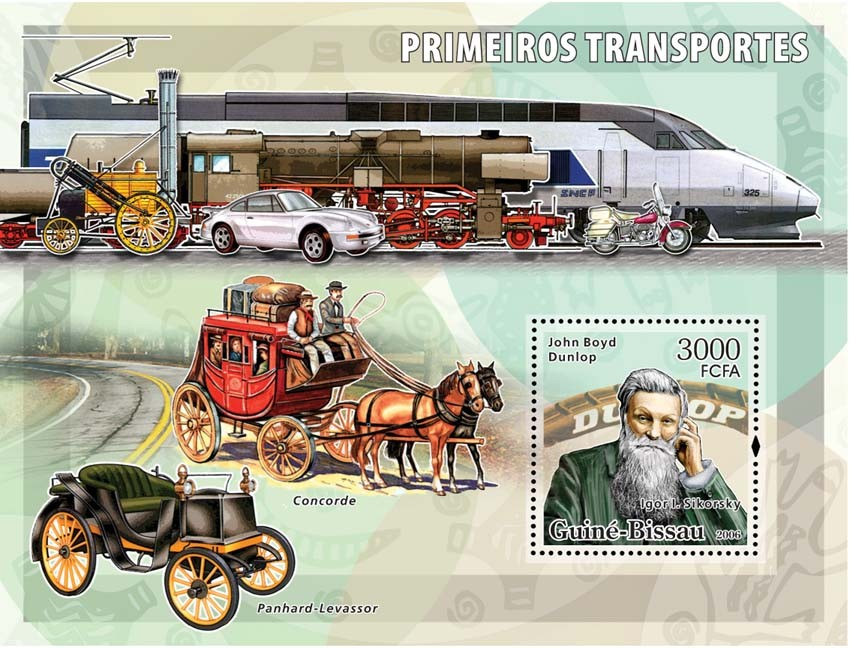 Early transports (Dunlop) S/s 3000 - Issue of Guinée-Bissau postage stamps