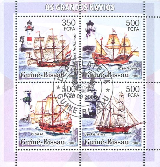 Sail ships & lighthouses 4v: 1 x 350 & 3 x 500 (CTO) - Issue of Guinée-Bissau postage stamps