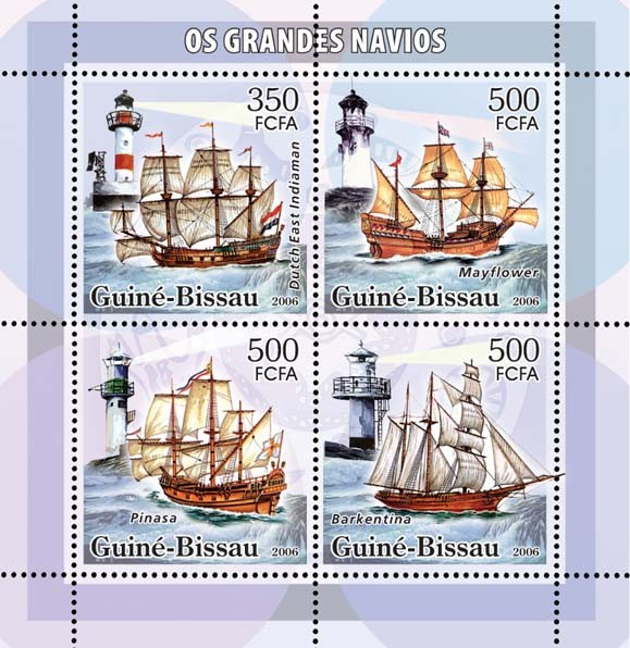Sail ships & lighthouses 4v: 1 x 350 & 3 x 500 - Issue of Guinée-Bissau postage stamps