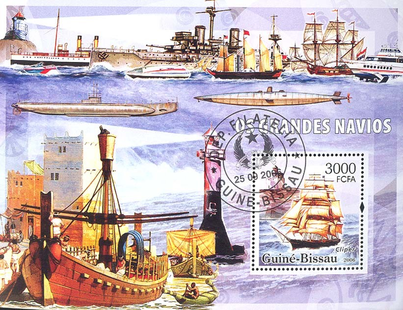 Sail ships & lighthouses  S/s 3000 (CTO) - Issue of Guinée-Bissau postage stamps