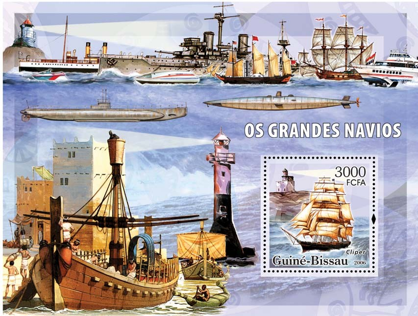 Sail ships & lighthouses S/s 3000 - Issue of Guinée-Bissau postage stamps