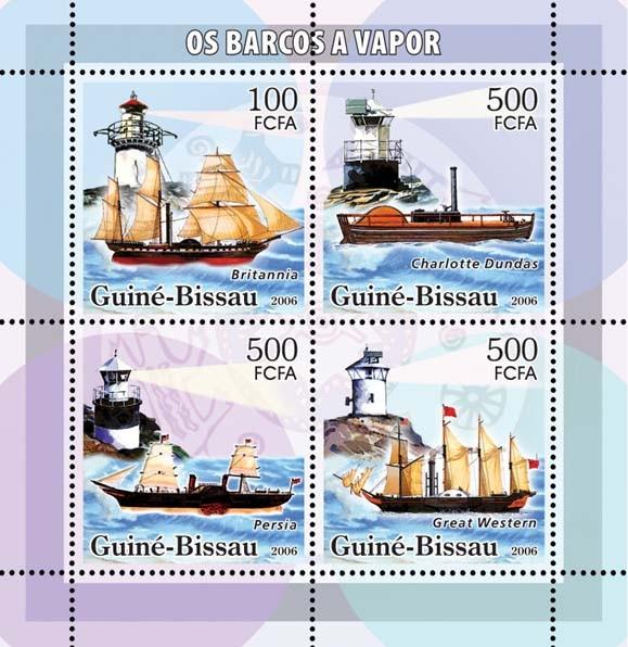 Motor barges & lighthouses 4v: 1 x 100 & 3 x 500 - Issue of Guinée-Bissau postage stamps