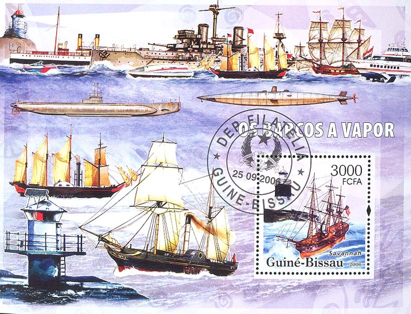 Motor barges & lighthouses S/s 3000 (CTO) - Issue of Guinée-Bissau postage stamps