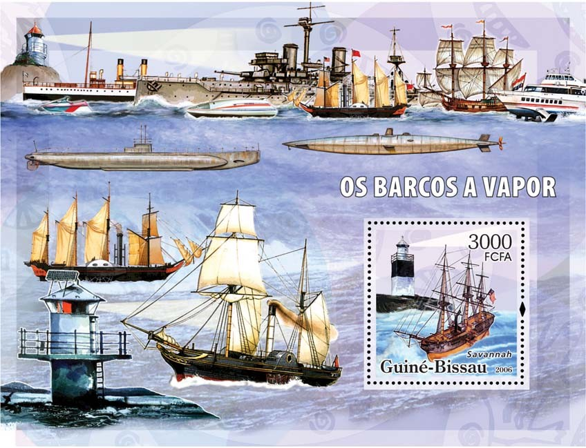 Motor barges & lighthouses S/s 3000 - Issue of Guinée-Bissau postage stamps