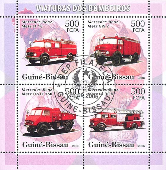 Fire Engines Mercedes-Benz 4v x 500 (CTO) - Issue of Guinée-Bissau postage stamps