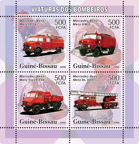 Fire Engines Mercedes-Benz 4v x 500 - Issue of Guinée-Bissau postage stamps
