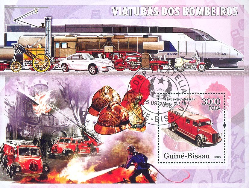 Fire Engines Mercedes-Benz S/s 3000 (CTO) - Issue of Guinée-Bissau postage stamps