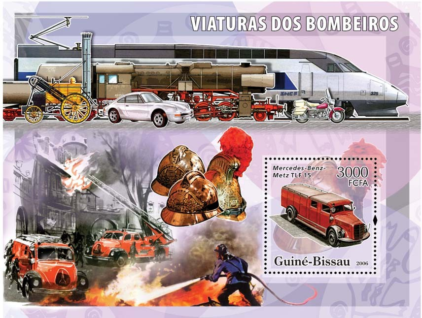 Fire Engines Mercedes-Benz S/s 3000 - Issue of Guinée-Bissau postage stamps