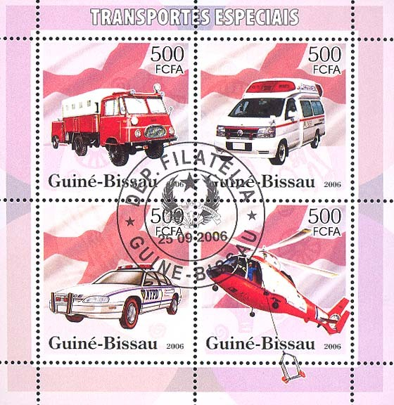 Special Transport (Fire Engine, Ambulance, Police) 4v x 500 (CTO) - Issue of Guinée-Bissau postage stamps