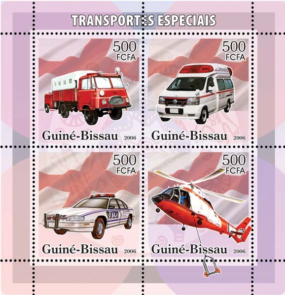 Special Transport (Fire Engine, Ambulance, Police) 4v x 500 - Issue of Guinée-Bissau postage stamps