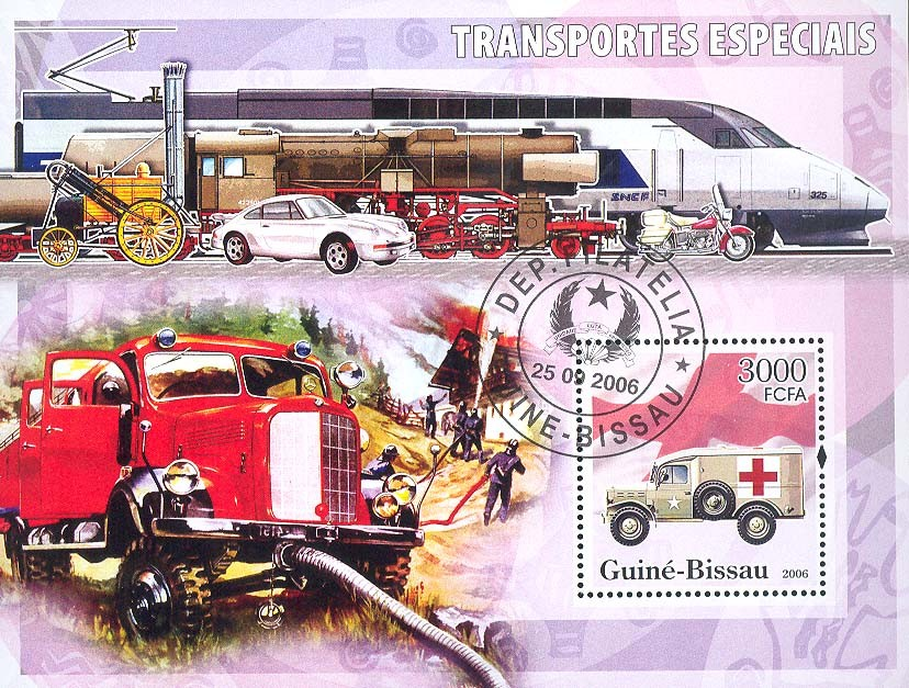 Special Transport (Fire Engine, Ambulance, Red Cross) S/s 3000 (CTO) - Issue of Guinée-Bissau postage stamps