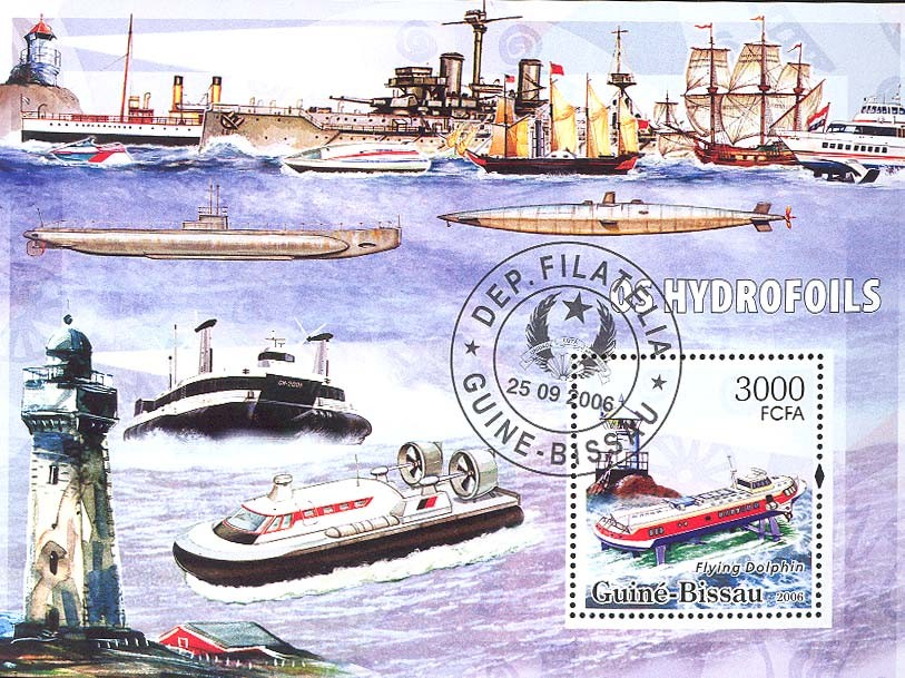 Hydrofoils & lighthouses S/s 3000 (CTO) - Issue of Guinée-Bissau postage stamps