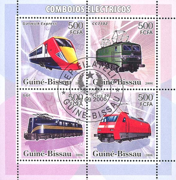 Electric trains 4v x 500 (CTO) - Issue of Guinée-Bissau postage stamps