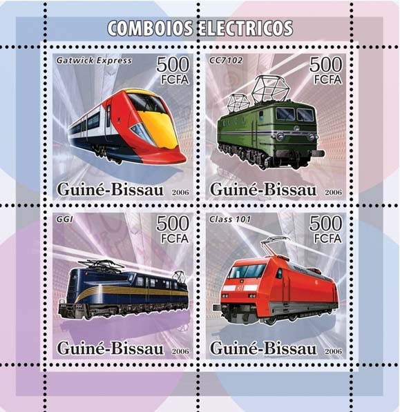Electric trains 4v x 500 - Issue of Guinée-Bissau postage stamps