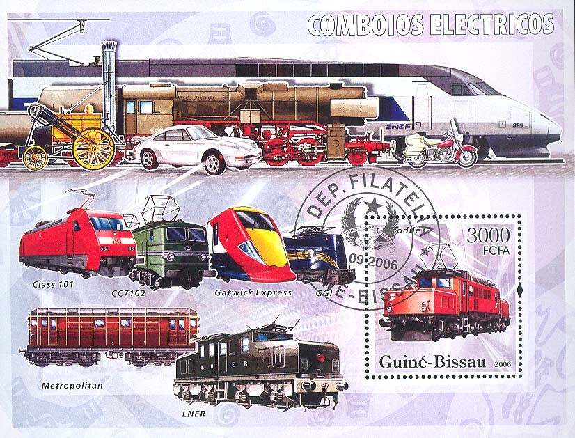 Electric trains S/s 3000 (CTO) - Issue of Guinée-Bissau postage stamps