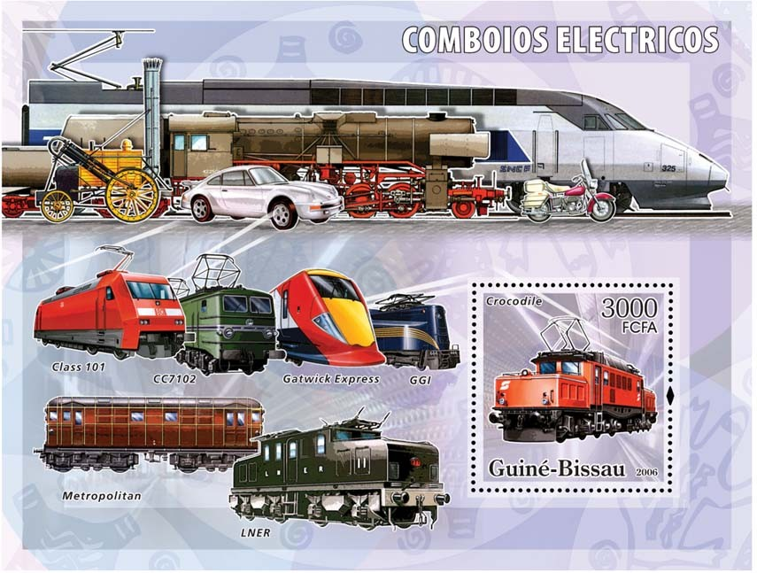 Electric trains S/s 3000 - Issue of Guinée-Bissau postage stamps