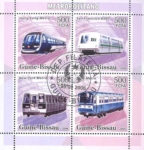 Metro-underground trains 4v x 500 (CTO) - Issue of Guinée-Bissau postage stamps