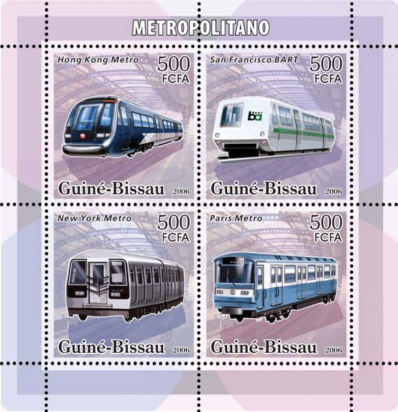 Metro-underground trains 4v x 500 - Issue of Guinée-Bissau postage stamps