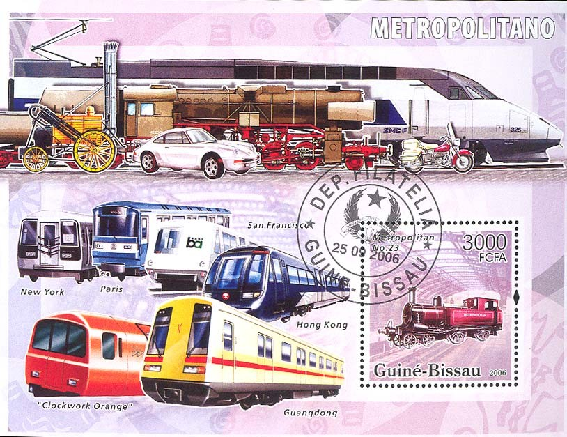 Metro-underground trains S/s 3000 (CTO) - Issue of Guinée-Bissau postage stamps