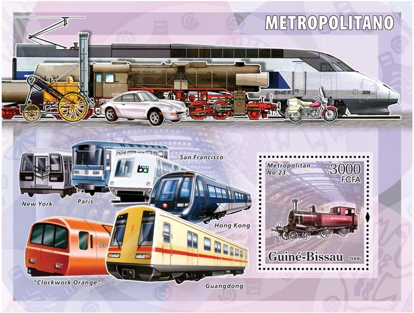 Metro-underground trains S/s 3000 - Issue of Guinée-Bissau postage stamps