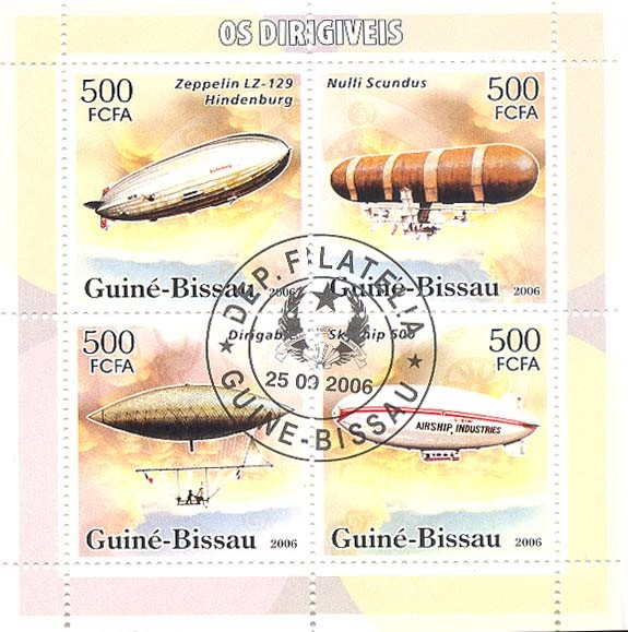 Dirigables (zeppelins) 4v x 500 (CTO) - Issue of Guinée-Bissau postage stamps