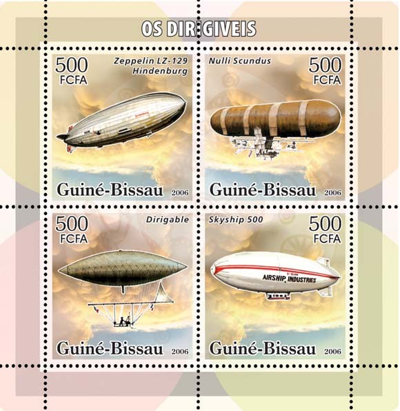 Dirigables (zeppelins) 4v x 500 - Issue of Guinée-Bissau postage stamps