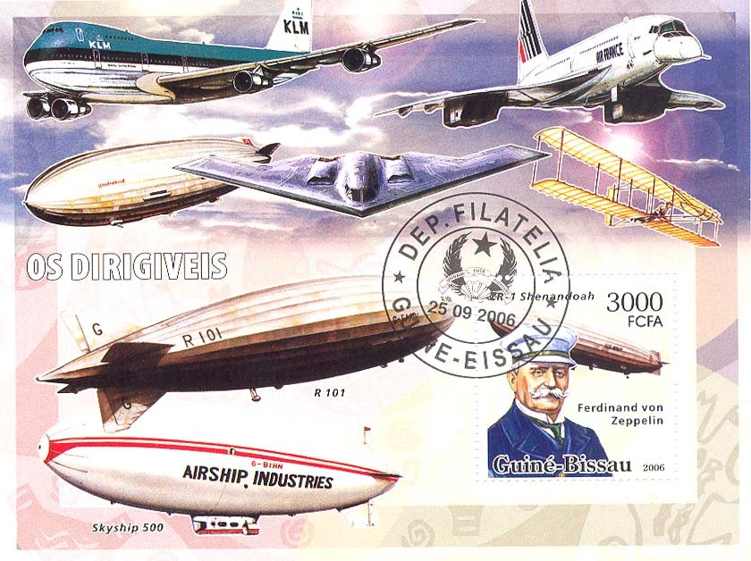 Dirigables (zeppelins) S/s 3000 (CTO) - Issue of Guinée-Bissau postage stamps