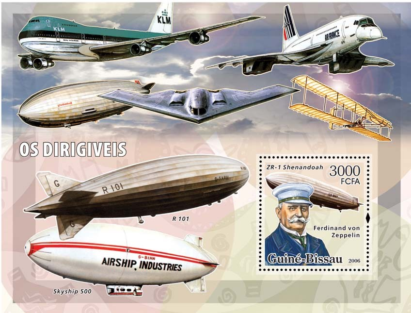 Dirigables (zeppelins) S/s 3000 - Issue of Guinée-Bissau postage stamps