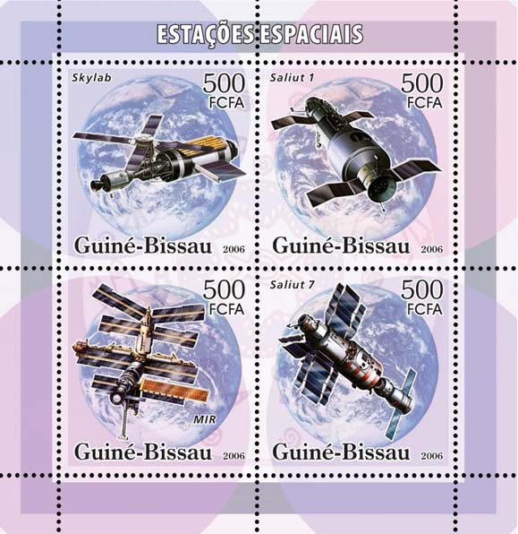 Space stations 4v x 500 - Issue of Guinée-Bissau postage stamps