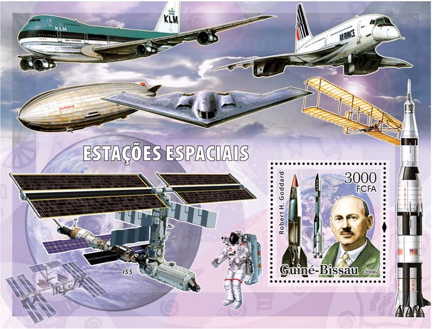 Space stations S/s 3000 - Issue of Guinée-Bissau postage stamps