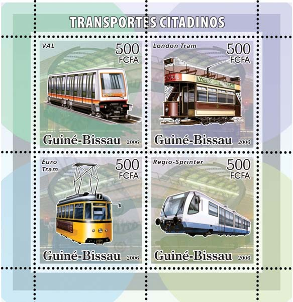 City transport - trams 4v x 500 - Issue of Guinée-Bissau postage stamps