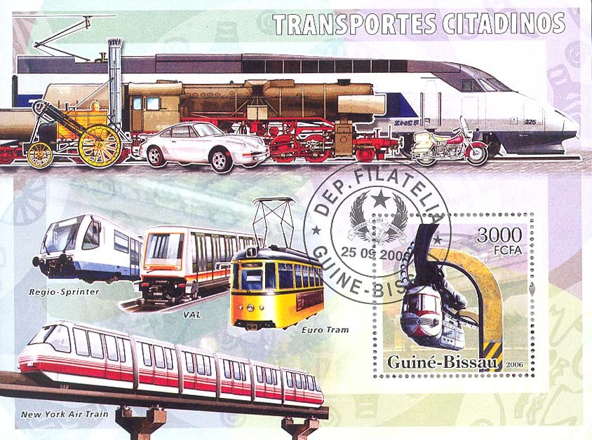 City transport  trams  S/s 3000 (CTO) - Issue of Guinée-Bissau postage stamps